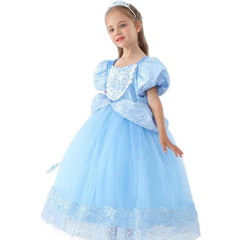 Disfraz de Cenicienta de lujo para niñas de 3, 6, 8 y 10 años, vestido de baile en capas con mangas abombadas, trajes de Halloween