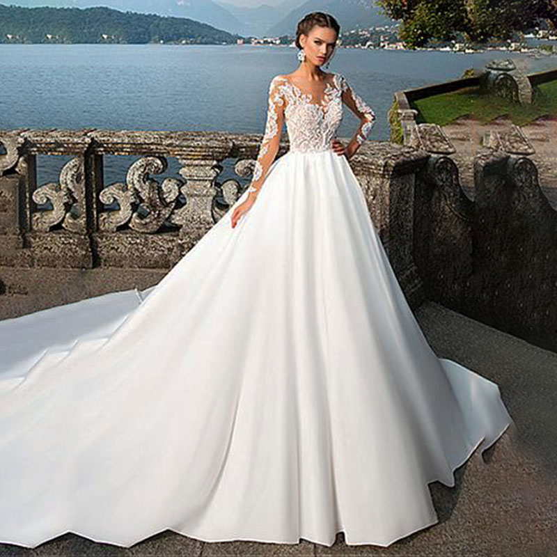 Elegant Satin V-Neck A-Line Wedding Dresses With Lace Appliques Long Sleeves Bridal Dress Wedding Gowns Vestido Longo De Festa