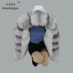 Image 2 - Linhaoshengyue yeni stil tavşan kürk astar elbise kadın 90cm uzun tilki kürk kapı kontrol