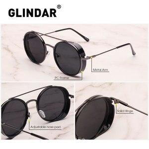 Image 4 - Retro Teampunk Round Sunglasses for Women Men Double Bridge Metal Frame Sun Glasses