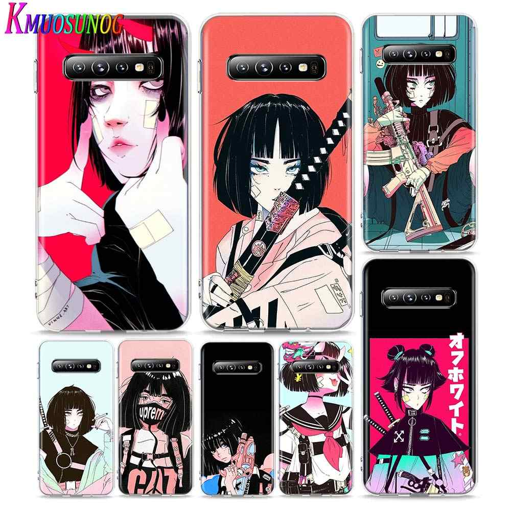 Transparante Cover Vinne Art Meisje Voor Samsung Galaxy Note 10 Plus 9 8 S20 Ultra S10 5G S9 S8 s7 Plus Telefoon Case