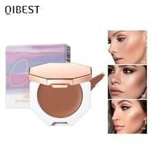 Qibest rosto maquiagem bronzer paleta creme sedoso contorno maquiagem cosméticos highlighter bronzer paleta maquiagem rosto iluminador