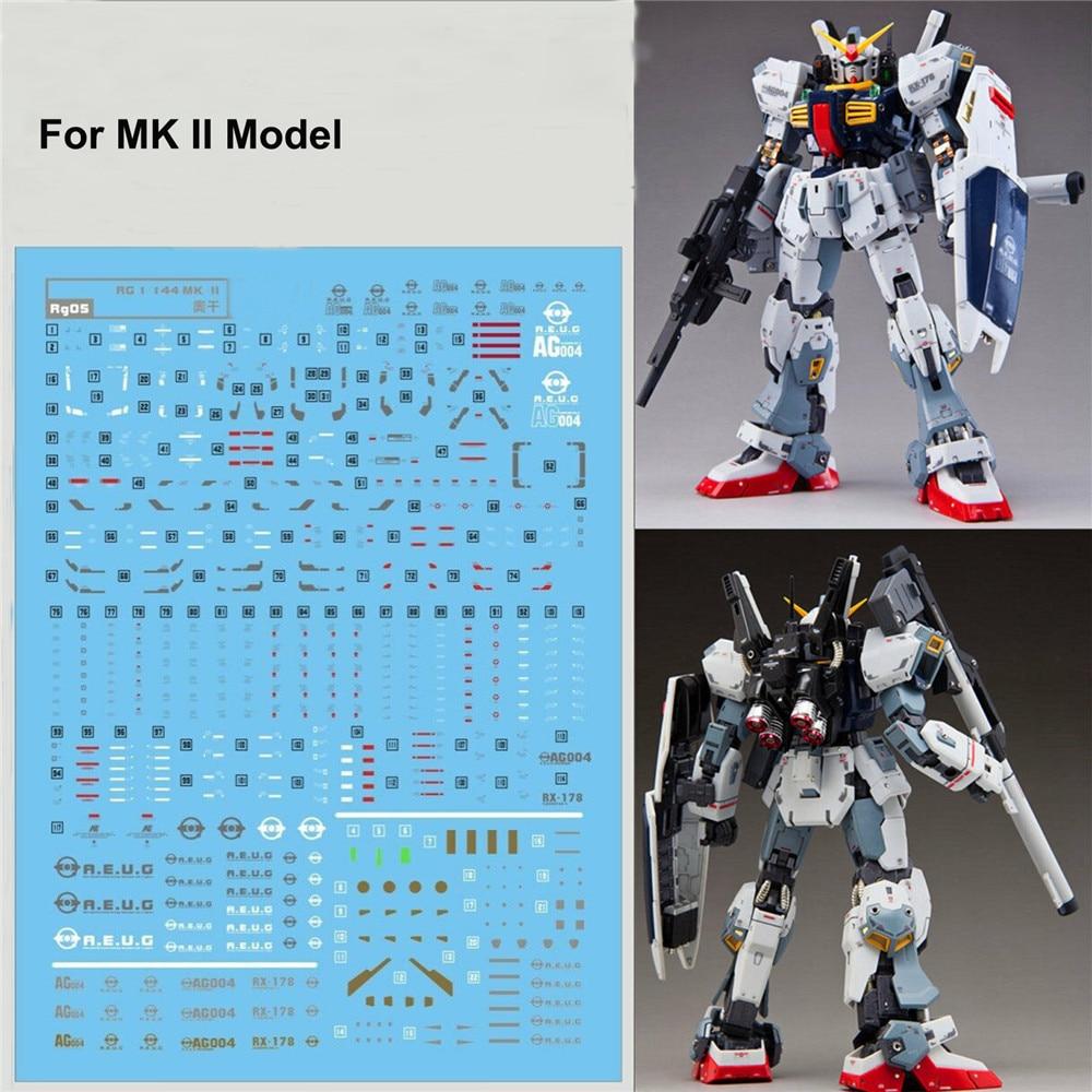 DIY wysokiej jakości woda kalkomanie do 1/144 Bandai RG Gundam MK II AEUG Model DIY naklejki wklej wodyZestawy modelarskie   -