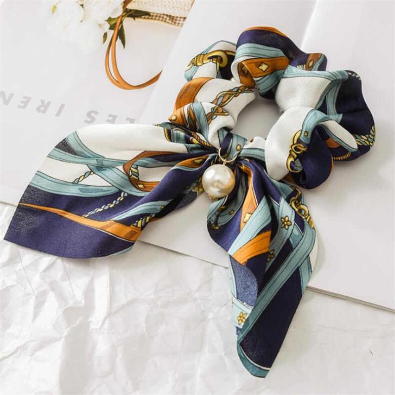 Chiffon Bow Serpentinas de pelo de moda de anillo de cinta Cintas de Pelo para chicas gomas del pelo de cola de caballo corbata sombrero sólido accesorios para el cabello
