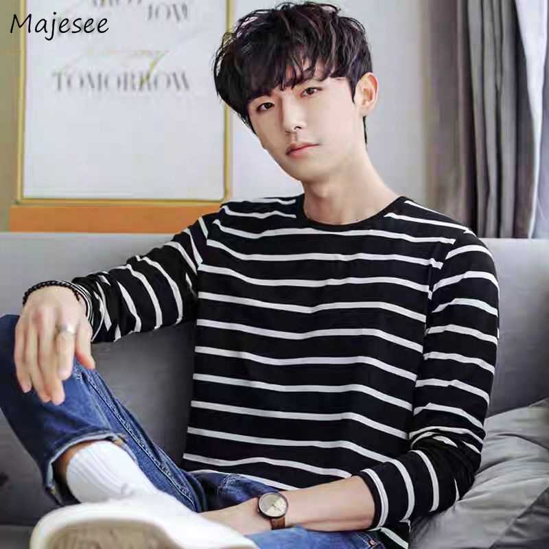 Men Long Sleeve T-shirts O-neck Striped Preppy-style Students Mens Tees All-match Couples Simple Slim Spring Autumn Trendy Chic