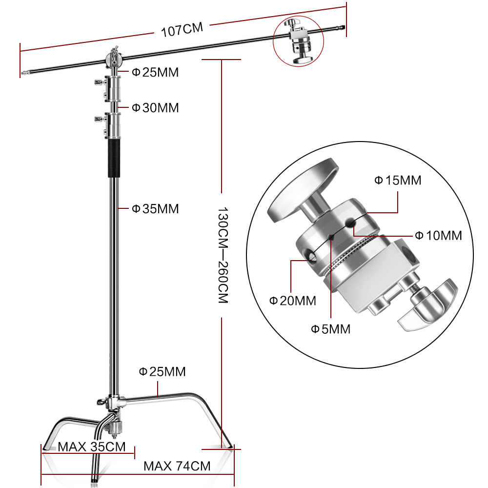 100% metalowy stojak C 8,53 stopy / 2,6 m z ramieniem wysięgnika - Aparat i zdjęcie - Zdjęcie 2
