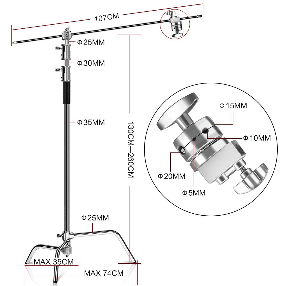 Suport C 100% metal 8,53 ft / 2,6 m C cu braț braț suport - Camera și fotografia - Fotografie 2