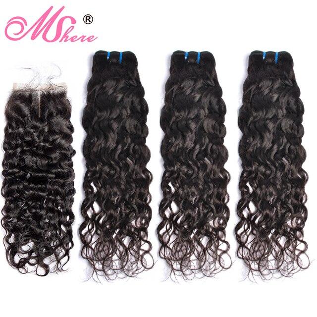 Mshere Wasser Welle Bundles Mit Verschluss Brasilianische Haar 3/4 Bundles Mit Spitze Verschluss Nicht Remy Menschliches Haar Bundles mit Verschluss