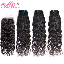 Mshere Water Wave Bundles With Closure Brazilian Hair 3/4 Bundles With Lace Closure  Non Remy Human Hair Bundles with Closure