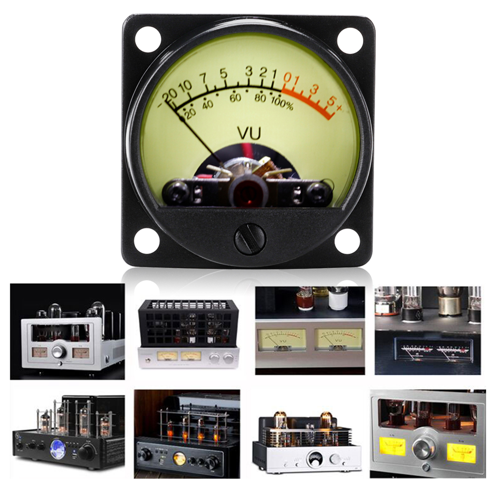 TR-35 VU Meter Head Power AMP Amplifier DB Table Audio Recording Level Head Meter Sound Pressure Meter with Backlight