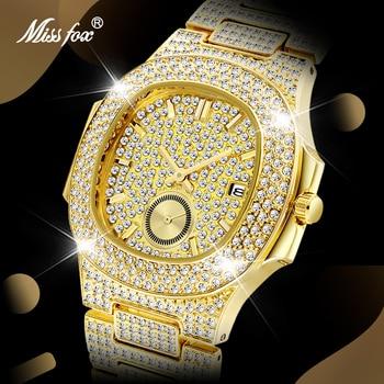 MISSFOX Men Watch Top Brand Luxury Gold Bracelet Diamond Square Man Watch Chronograph Waterproof Wristwatch Dropshipping New