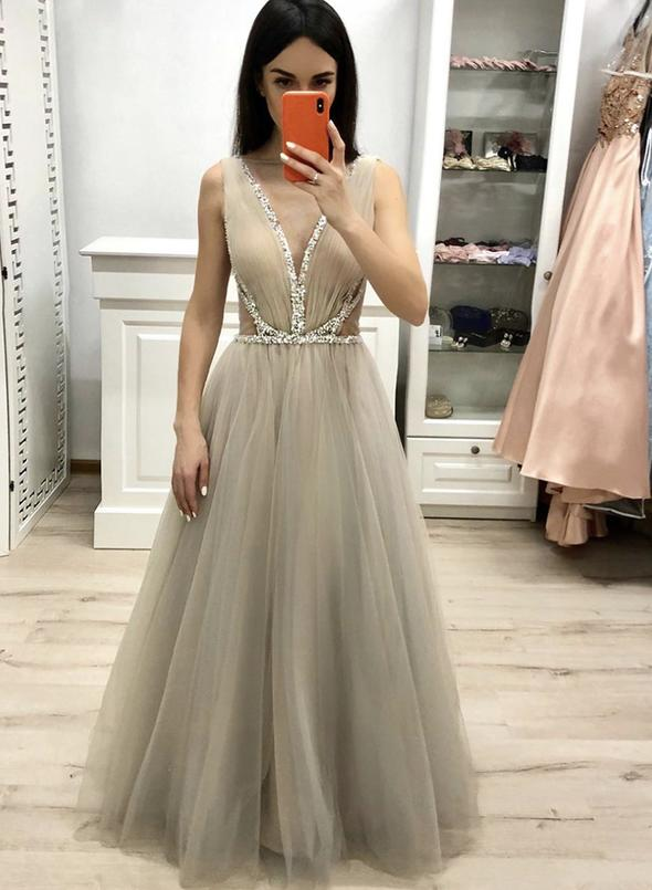 Stylish V neck Tulle Beaded Long Prom Dresses 2020 Evening Party Gows Sexy Tulle Sleevelss See Through Formal Women Wear