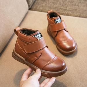 Image 1 - 2019 thu Giày trẻ em trẻ em giày bốt Martin đồng màu mới da bé nam và bé nữ giày ống thấp Hàn Quốc phiên bản của Hoang Dã