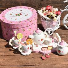 Девочка кухня креативный керамический чайный набор игрушка Дети Мини-набор для чая деревянный ролевые игры с коробкой Подарочная чаша фруктовый ломтик Чашка Поднос ложка