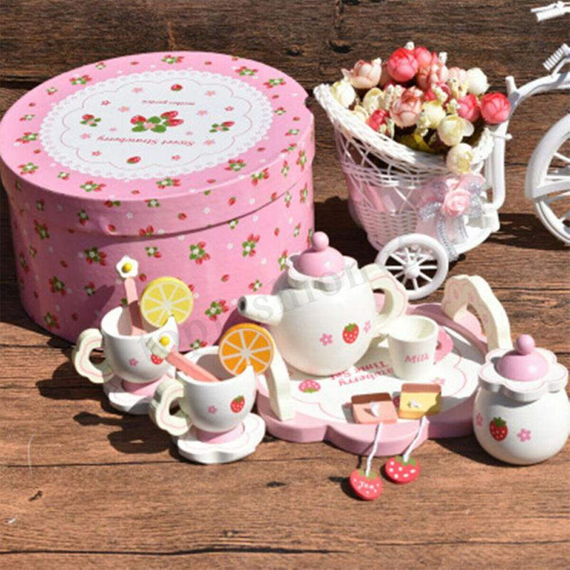 Girl Kitchen Creative Ceramic Tea Set Toy Kids Mini Tea Set Wooden Pretend Play With Box Gift Bowl Fruit Slice Cup Tray Spoon