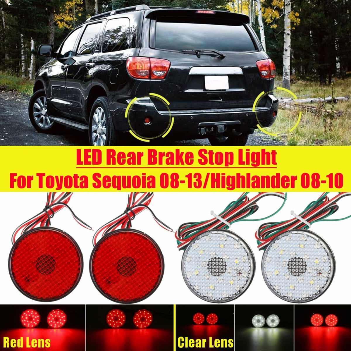 2 X Auto 21SMD Reflector Lamp Licht Voor Toyota Highlander Sequoia ZRR70 Noah Auto Brake Clear Red Lens Led Rear bumper Staart Stop