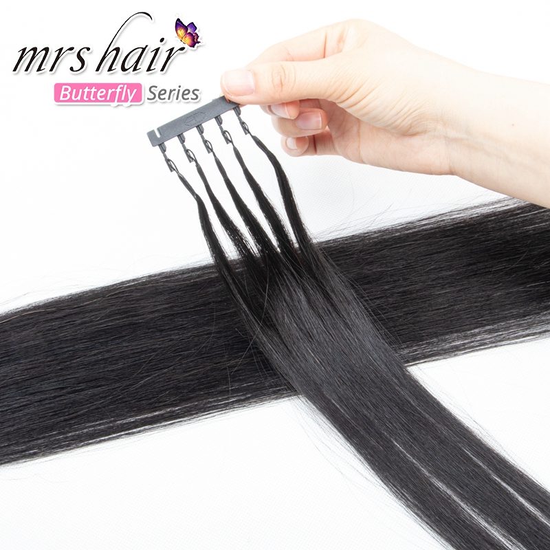 Mrshair 6D-2 Hair Extensions 6D 2nd Generation Remy 100% Human Hair Extension 1g/strand Hair BLack 1B Blonde 60 For Salon