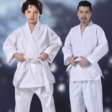 white taekwondo uniforms wtf karate judo taekwondo dobok clothes children adult unisex long sleeve tkd clothing White Karate Uniform Sets With Belt Waistband Judo Dobok Taekwondo For Adult Children School Student Beginner Training Clothes