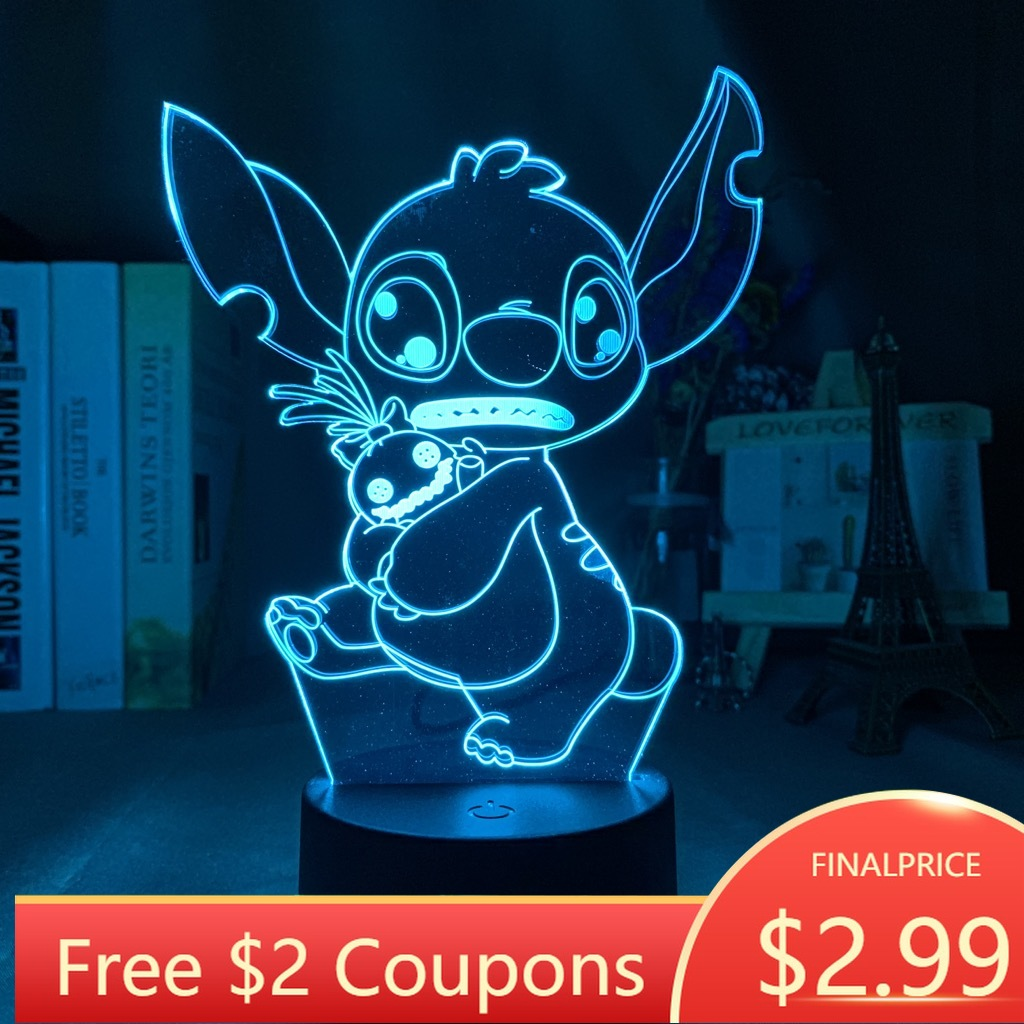 USB Led Night Light Stitch Hug Scrump Battery Powered Night Lamp For Children Lilo Stitch Kids Bedroom Decor Gift Dropshipping