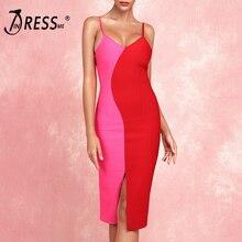 INDRESSME Sexy Straps Sleeveless Slit Bandage Dress 2019 Women New Fashion V Neck Patchwork Vestidos Party Club Bodycon
