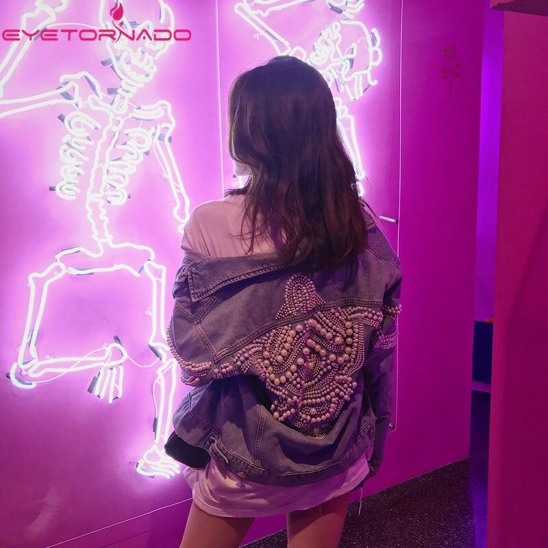 Женская Роскошная джинсовая куртка с жемчугом и бусинами осенняя Повседневная куртка бомбер с карманами винтажная куртка в уличном стиле