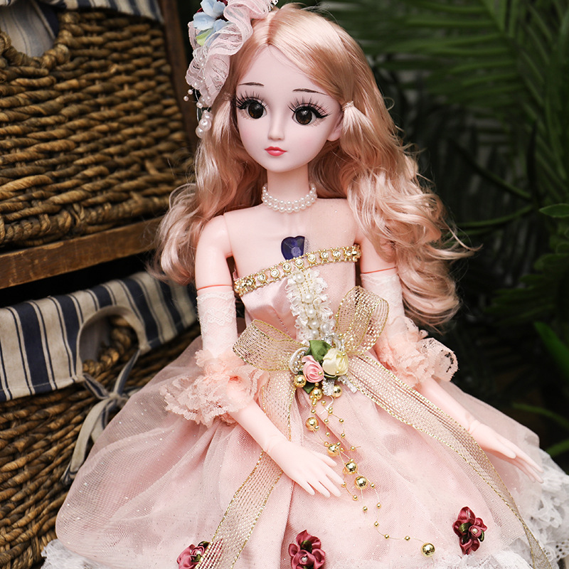 <font><b>60cm</b></font> BJD <font><b>Doll</b></font> with Princess Dress 1/3 Large <font><b>Dolls</b></font> 18 Jointed <font><b>Dolls</b></font> with Clothes Shoes <font><b>Wig</b></font> for Makeup Gift for Girls AT91 image