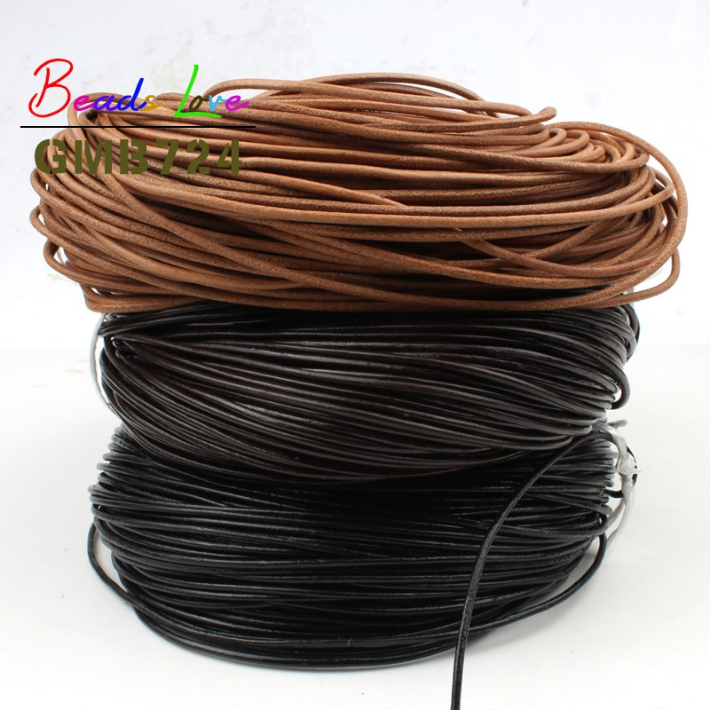 1/1.5/2/3mm 5M Real Genuine Leather Cords Round Rope String For Handmade DIY Bracelet Necklace Jewelry Making Craft Accessories