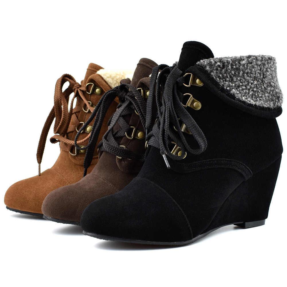 Kadın kış takozlar ayakkabı yarım çizmeler kadın kar sıcak çizmeler bayan yüksek topuklu patik ayakkabı kadın büyük Boy 48