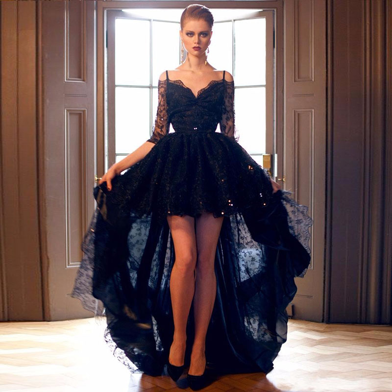 2019 New Short Front Long Back Gothic Black Lace Wedding Dresses With 3/4 Sleeves Off The Shoulder Sexy Colorful Bridal Gowns