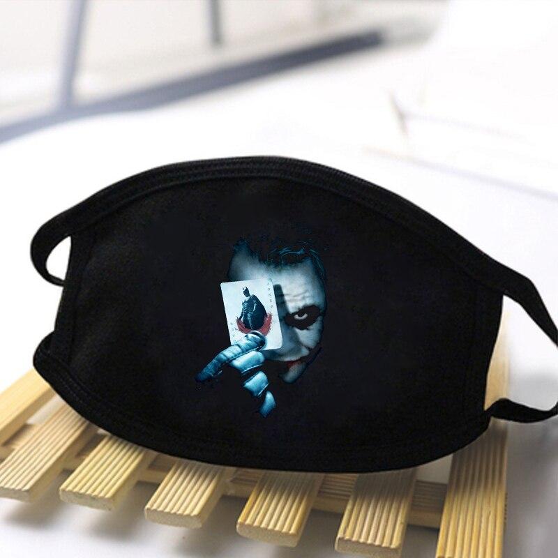Funny The Joker Jack Print Reusable Masks Face Dustproof Unisex Mouth-Muffle Mask Hip Hop Black Bilayer Winter Warm Fashion Mask