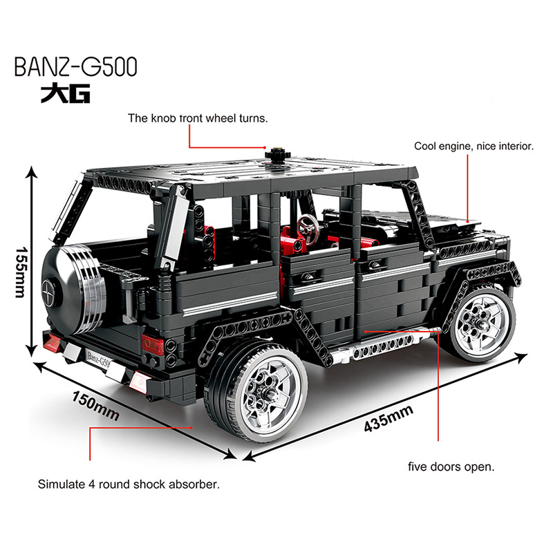 Image 5 - RC Motor Technic 20100 MOC 2425 SUV G500 AWD Wagon Car Sets Fit Legoing Building Blocks Electric Bricks Toys Gifts For Children-in Blocks from Toys & Hobbies