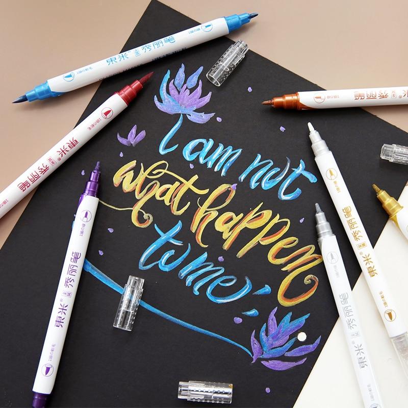 JIANWU 10pcs/set Metallic Painting Double Head Markers Pen Pearl Color Art Markers Pen Bullet Journal Supplies Cute Brush Pens