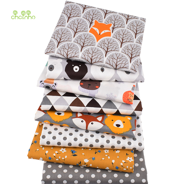 Chainho,8pcs/Lot,Jungle Animals Series,Printed Twill Cotton Fabric,Patchwork Cloth,DIY Sewing Quilting Material For Baby&Child 1