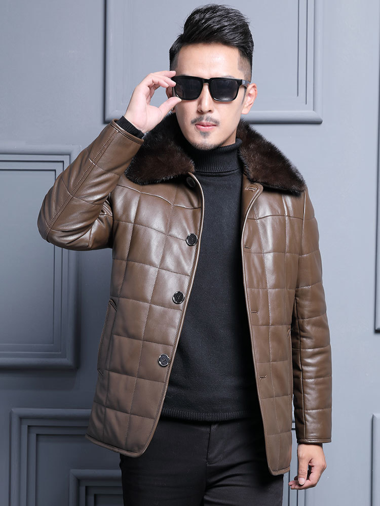 Autumn Winter Mens Leather Jacket Genuine Leather Sheepskin Coat Real Wool Fur Lining Mens Leather Jackets Mink Collar ML-127605