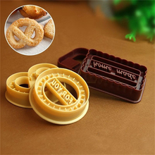 Yellow+ Wine Red 4 Piece Set Of Plastic Danish Cookie Cutters Kitchen Baking Tool Cake Mould
