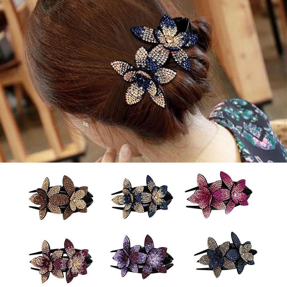 Women Hair Dovetail Clip Rhinestone Double Flower Hair Clip Duckbill Clip UK