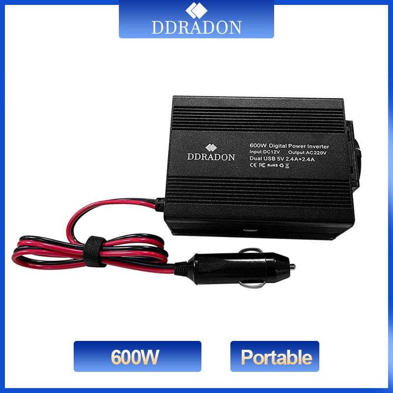 Автомобильный инвертор напряжения, 600 Вт, 12 В постоянного тока в 110 В/220 В переменного тока, двойной USB автомобильный адаптер, конвертер, модиф...