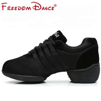 цена на Dance Sneakers For Women Girls Sports Modern Dance Jazz Shoes Lace Up Lightweight Breath Fitness Trainers Practice Shoes