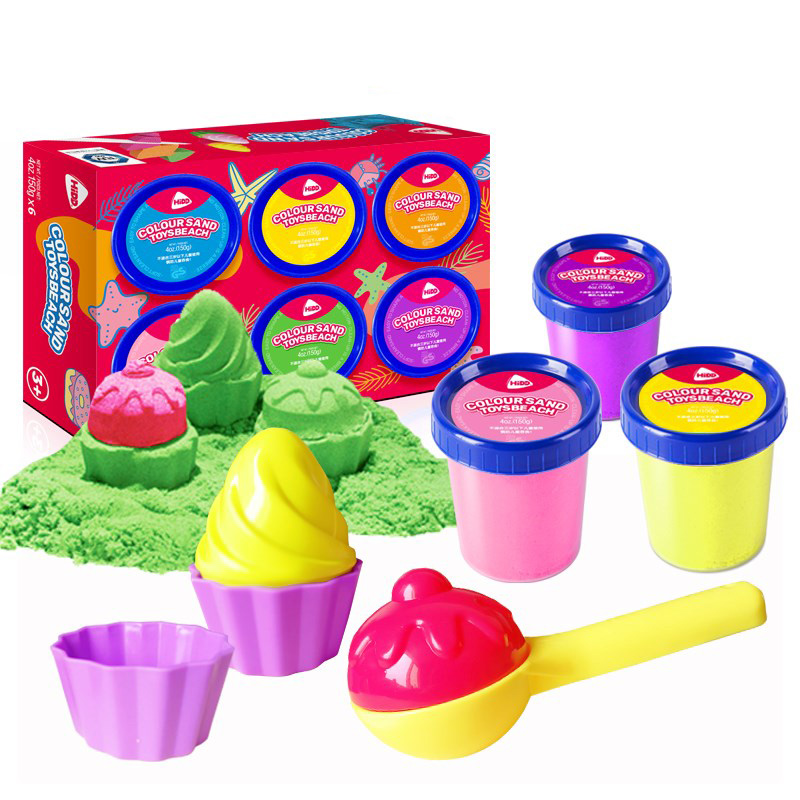 500g Soft Color Magic Sand DIY Squeezable Beach Sand Toy Kids No-toxic Flowing Building Sand With Tools Educational Toy