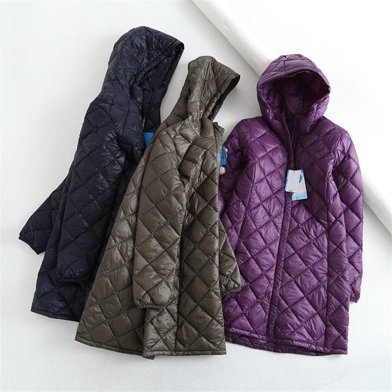2019 Winter New Fashion Rhombus Jacket Mid-length Ultra Light   Down   Jacket Women Hooded Casual Loose   Down     Coat   Winter Tops f2570