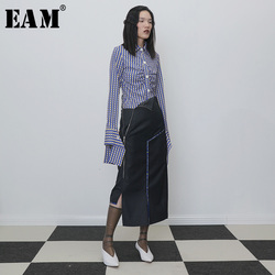 [EAM] High Waist Letter Print Zipper Split Joint Asymmetrical Half-body Skirt Women Fashion Tide New Spring Autumn 2020 1H267