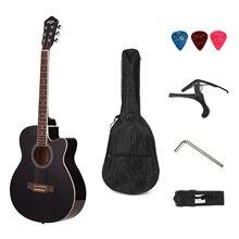 40inch Cutaway Acoustic Folk Guitar 6 Strings Basswood with Strap Gig Bag Capo Picks