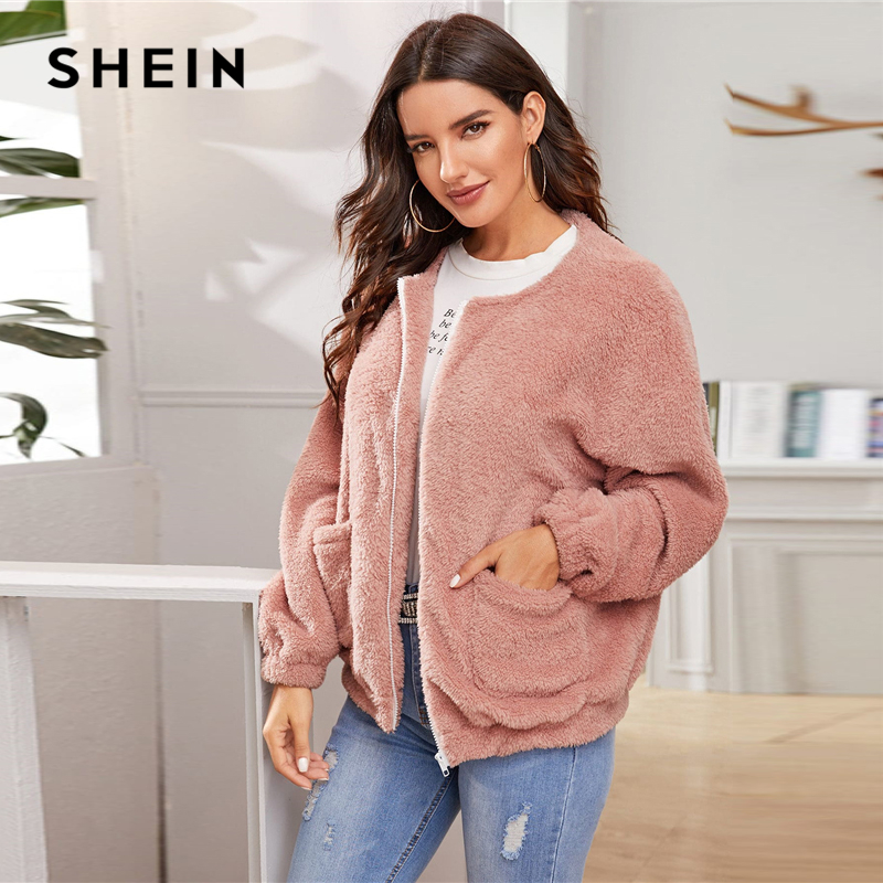 SHEIN Pink Solid Zipper Front Casual Teddy Jacket Coat Women 2019 Winter Streetwear Long Sleeve Double Pocket Ladies Outwear 6