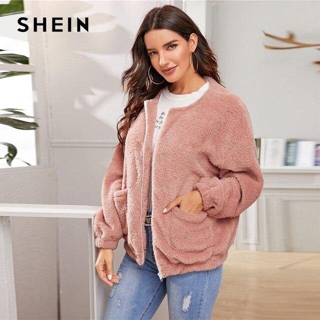 SHEIN Pink Solid Zipper Front Casual Teddy Jacket Coat Women 2019 Winter Streetwear Long Sleeve Double Pocket Ladies Outwear 6