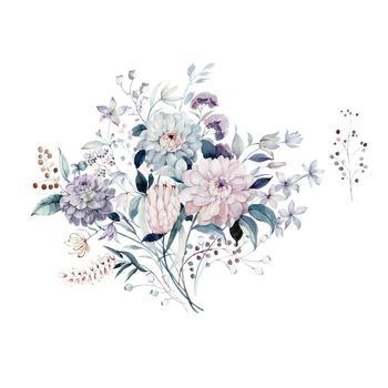 Pegatinas de pared de plantas y flores de color agua, decoración de fondo para dormitorio, sala de estar, hogar, mural, pegatinas extraíbles, papel tapiz