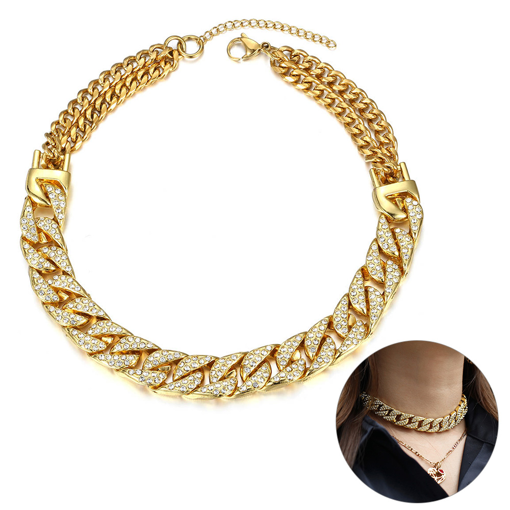 14mm Big Chunky Punk Miami Choker Collar Necklace for Women Men Gold Iced Out Paved Rhinestones CZ Curb Cuban Necklace DN176|Choker Necklaces|   - AliExpress