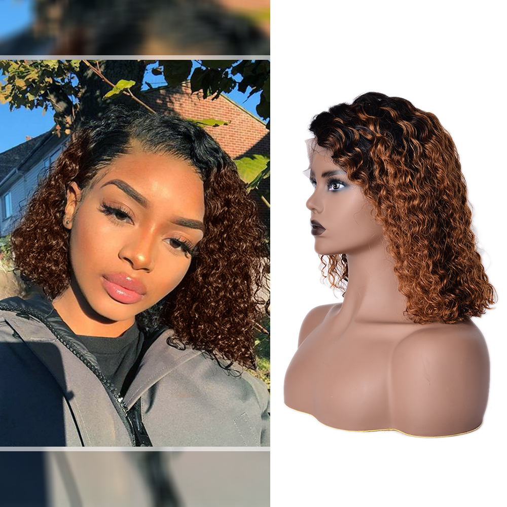 Curly Human Hair Wigs For Black Women Ombre Brown Color 150% 180% Density Pixie Cut Bob Wig Lace Front Human Hair Wigs