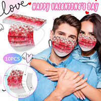 Headband 10PCS masques scarf Disposable Face Masks Unisex Adults Valentine's Day Printed 3-Layer Masks mascarilas Маска бандана#