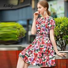 Brand Design Runway Summer Fashion Pink Mini Dress 2020 Women Printed Short-sleeved Sexy High Waist Party Luxury Dress Clothes(China)