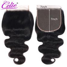 Perruque Lace Closure brésilienne Remy – Celie Hair, cheveux naturels, Body Wave, Swiss Lace, 7x7, 10-22 pouces, trois parties du milieu